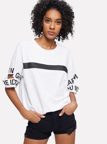 Slogan Print Cut Out Tee