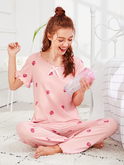 b5d29f388 Strawberry Print Frill Trim Pajama Set