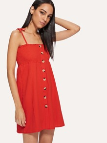 Button Front Shirred Detail Cami Dress