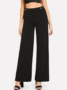 Studded Detail Wide Leg Pants