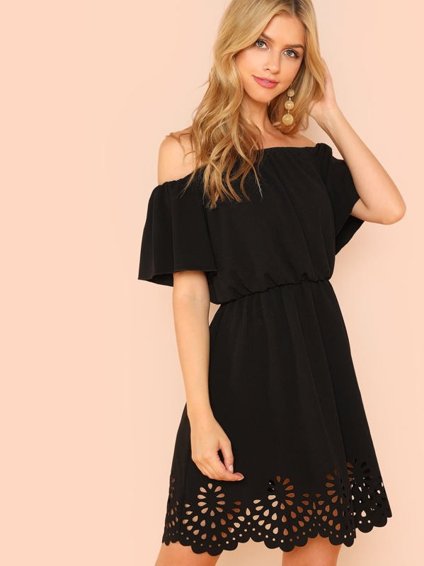 bbcca741fae51 Off Shoulder Cutout Scallop Dress