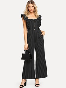 Ruffle Armhole Slant Pocket Wide Leg Striped Jumpsuit