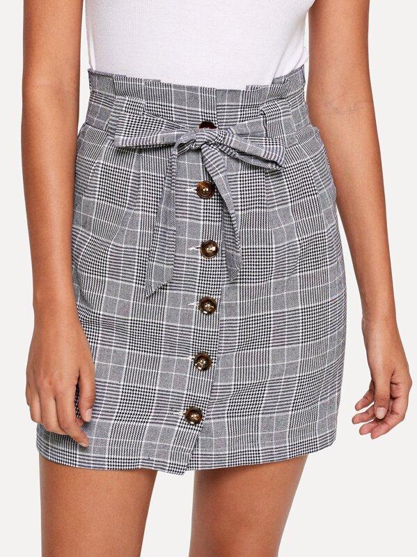 f63d846e76 Button Up Knot Front Plaid Skirt | SHEIN
