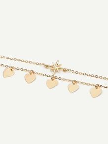 Metal Heart Layered Chain Anklet