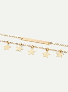 Bar & Star Layered Chain Anklet