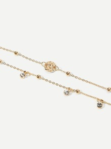 Rhinestone Detail Layered Chain Anklet