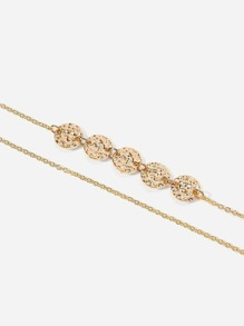 Textured Disc Layered Chain Anklet