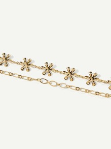 Flower Design Layered Chain Anklet