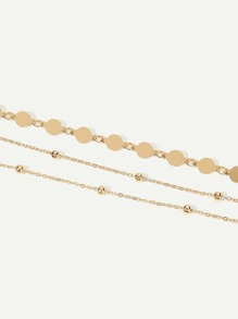 Flat Disc Layered Chain Anklet