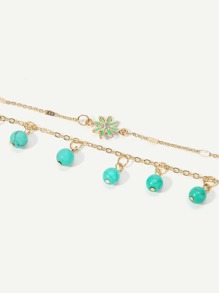 Beaded Decorated Layered Chain Anklet