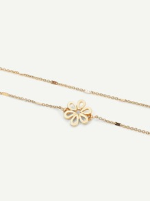 Hollow Flower Layered Chain Anklet