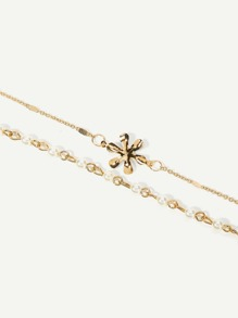 Metal Flower Layered Chain Anklet