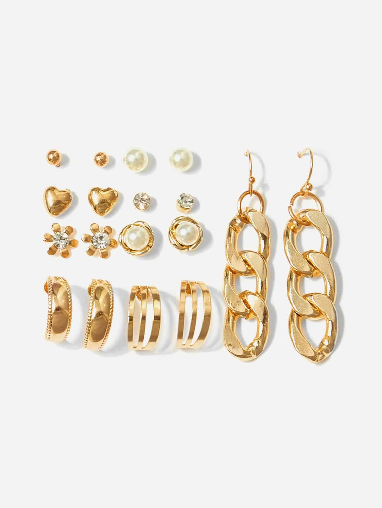 Heart & Chain Shaped Earrings 9pairs