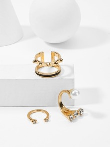 Double Layered Cuff Ring Set 3pcs