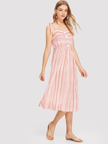 Button Detail Striped Dress With Tied Strap