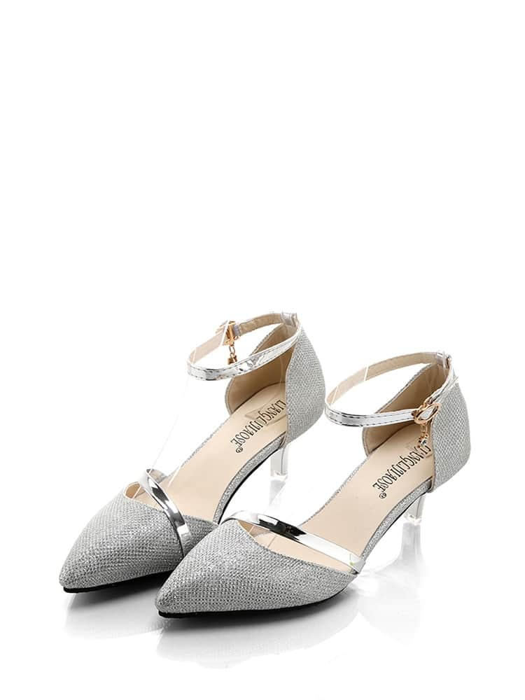 db19a71b7fc Ankle Strap Glitter Kitten Heels