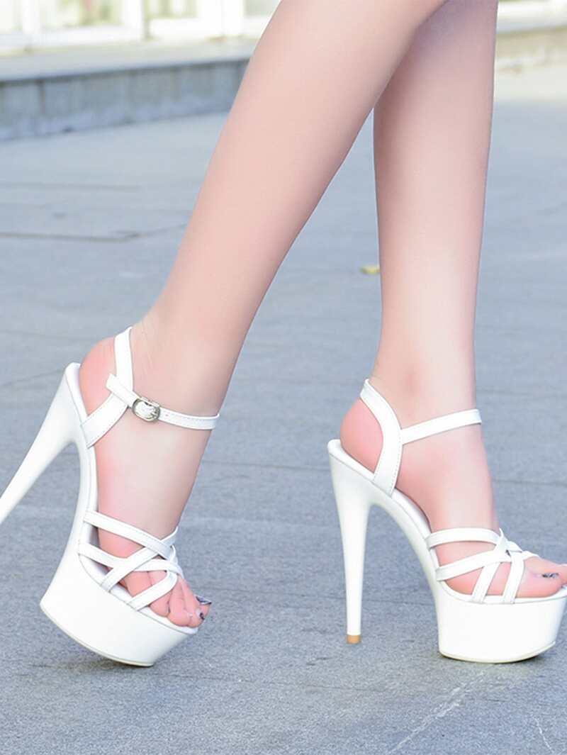 Criss Cross Platform Heeled Sandals