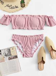 9a98515f7487 Ruffle Strap Top With Tanga Panty Bikini Set | ROMWE