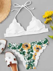 Scallop Halter Top With Floral Print Bikini Set