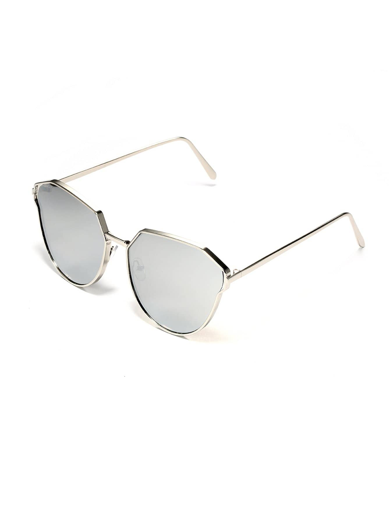 Sonnenbrille mit Metall Rahmen und irregulärer Linse- German romwe