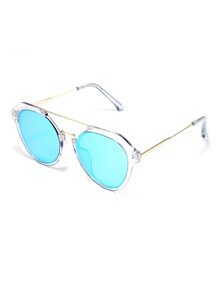 Double Bridge Flat Lens Sunglasses