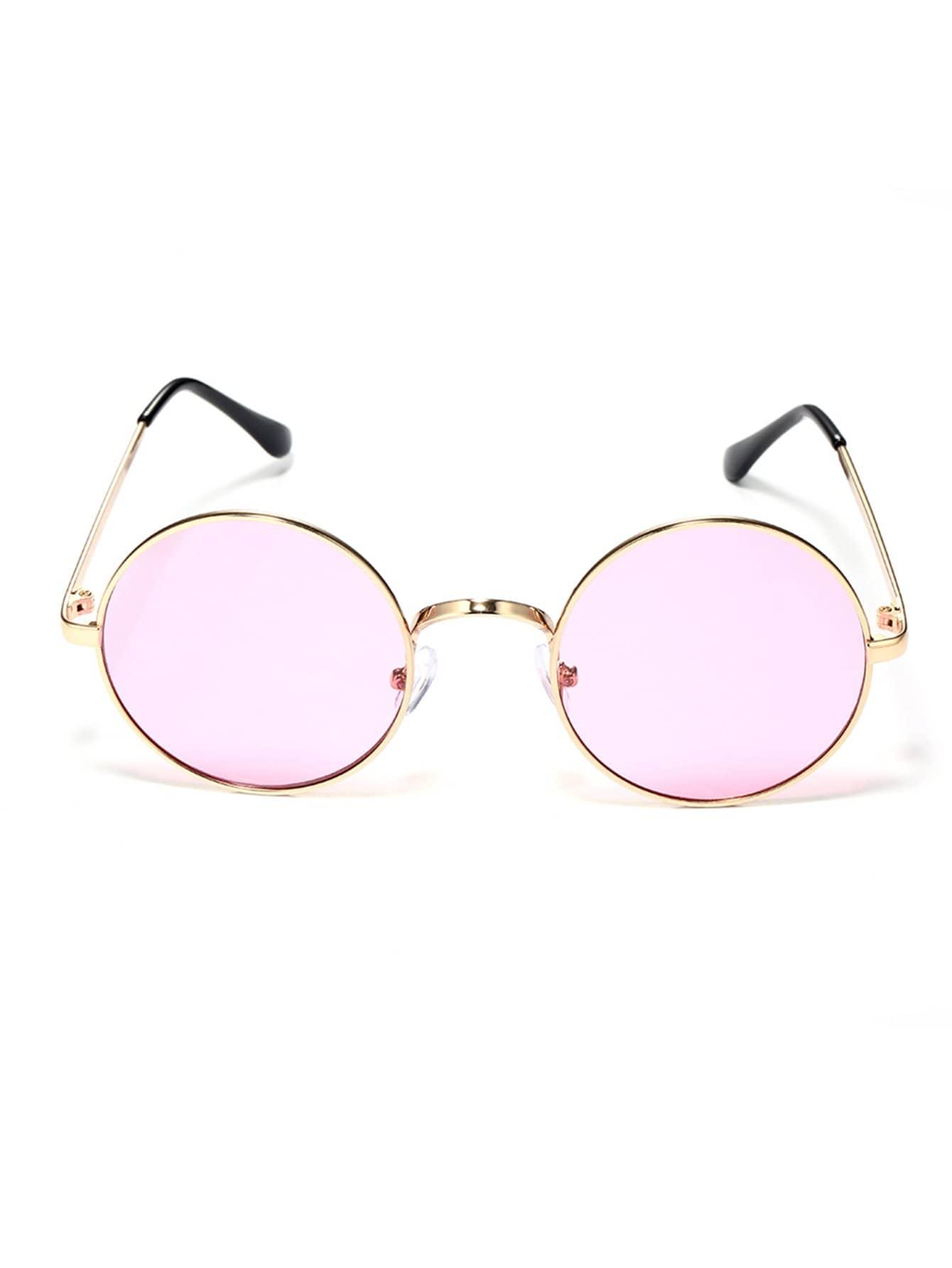 Sonnenbrille mit Metall Rahmen und runder Linse- German romwe