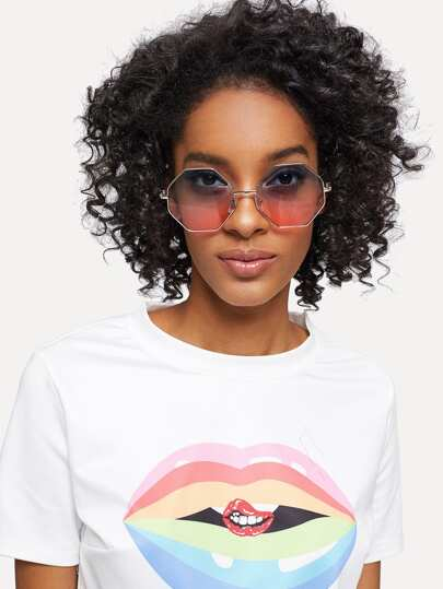 Metal Frame Geometric Lens Sunglasses