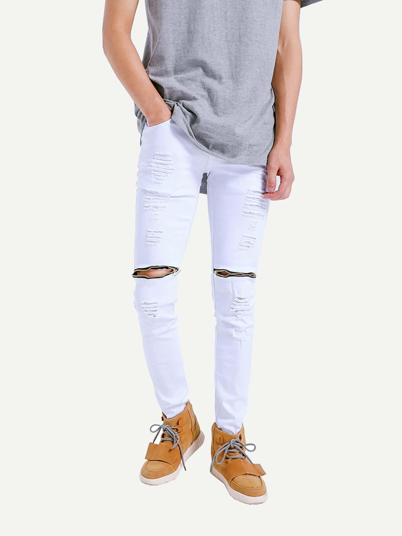 m nner zerrissene jeans mit rei verschluss german shein sheinside. Black Bedroom Furniture Sets. Home Design Ideas