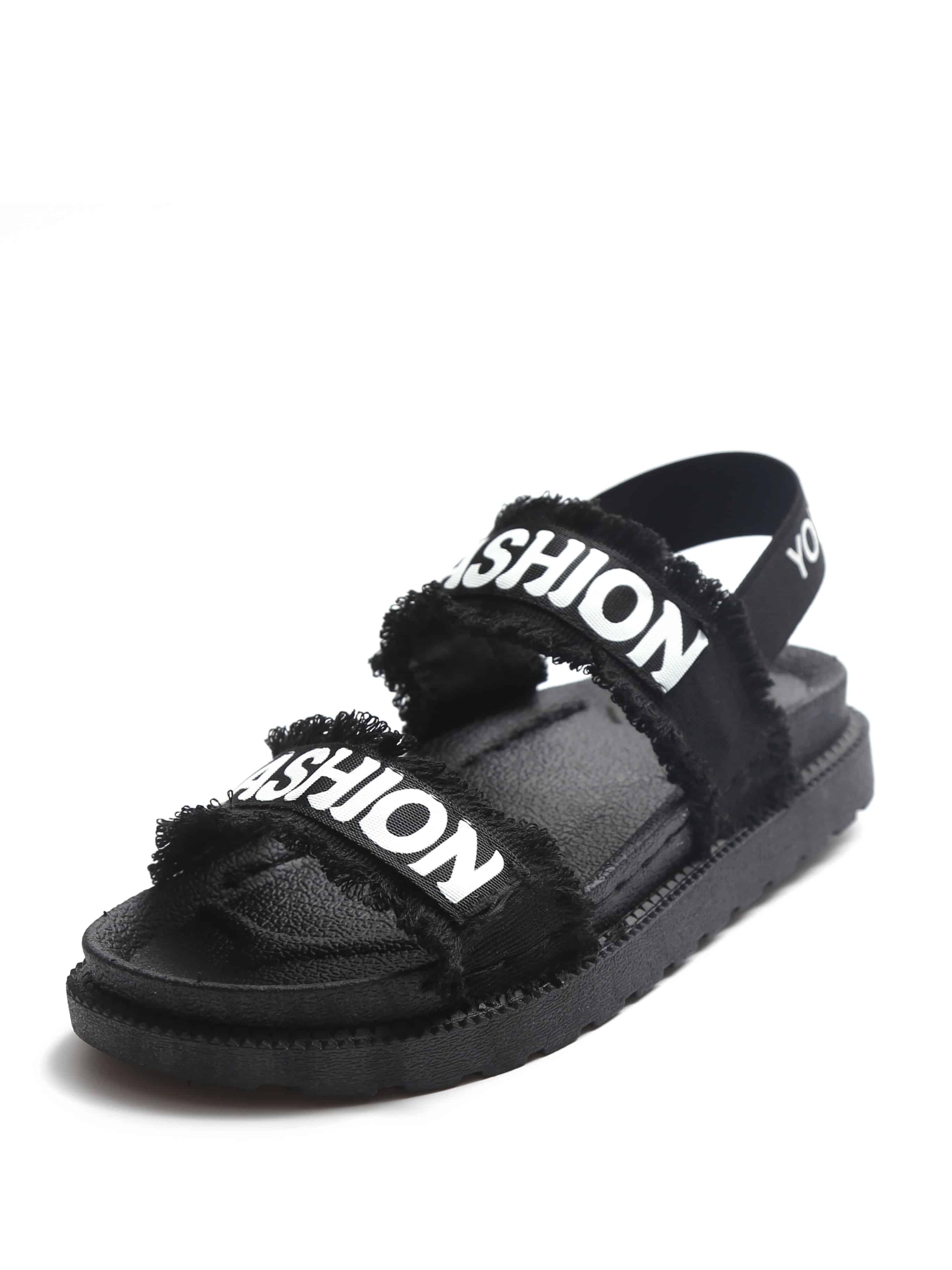 Slogan Patch Frayed Trim Sandals Emmacloth Women Fast