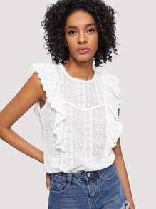 Laser Cut Ruffle Trim Top