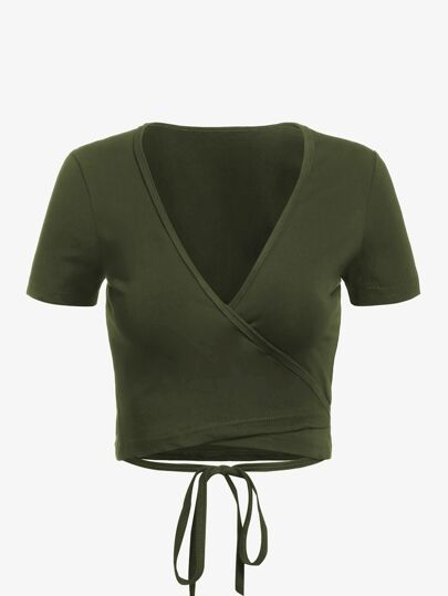 Self Tie Wrap Crop T-Shirt