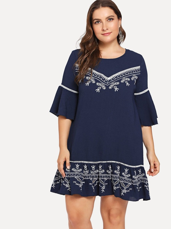 a4a0c876bd Cheap Plus Lace Insert Bell Sleeve Embroidered Dress for sale Australia