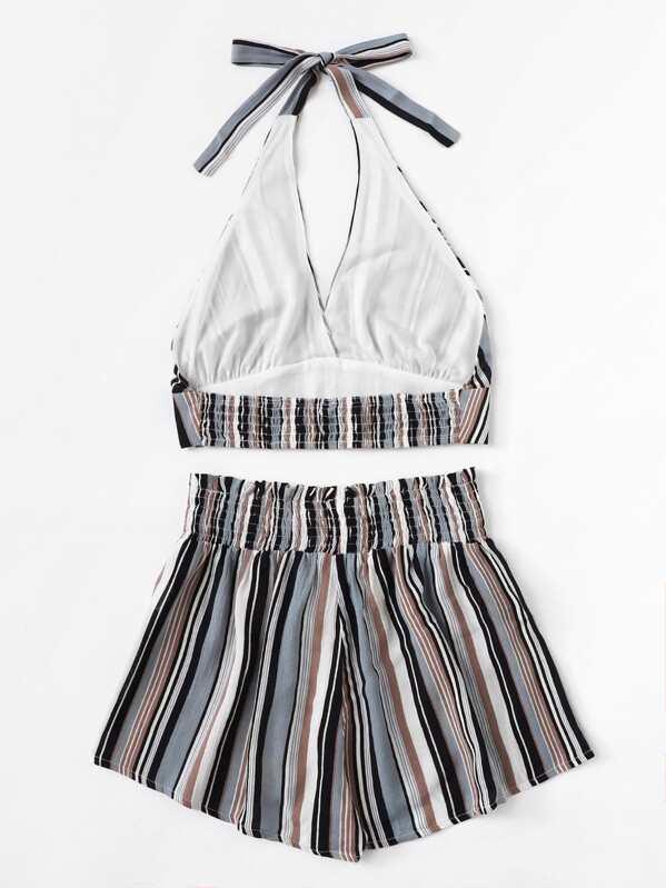 ba909255a75d Conjunto top halter de rayas con shorts anchos