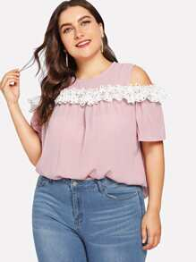 Plus Contrast Lace Open Shoulder Blouse