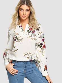 Floral High Low Shirt