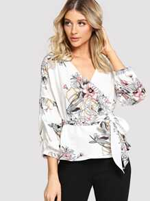 Tie Side Floral Wrap Blouse