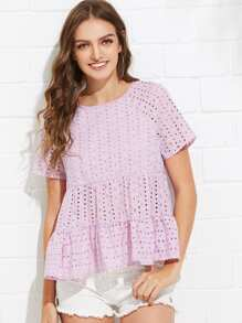 Tied V-Back Eyelet Embroidered Tiered Top