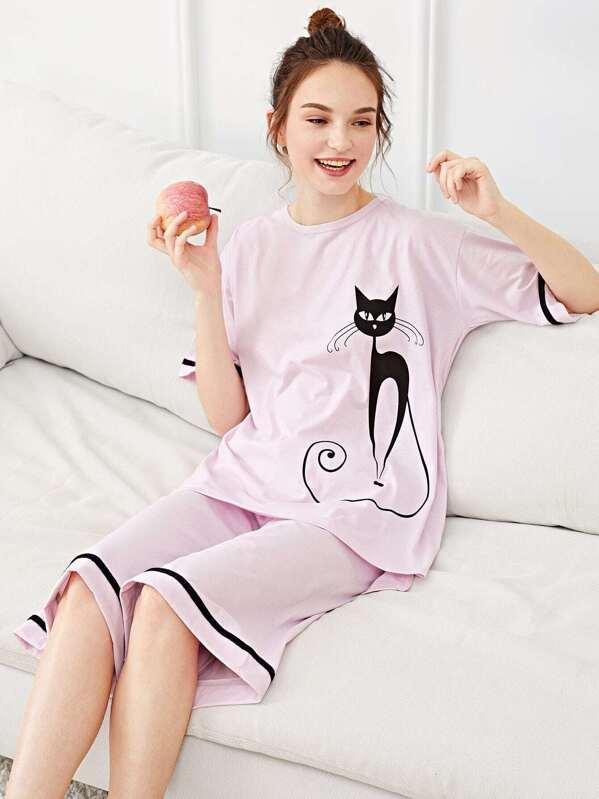 4c16e8d885 Conjunto de pijama con estampado de gato en contraste