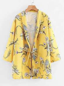 All Over Florals Shawl Collar Coat
