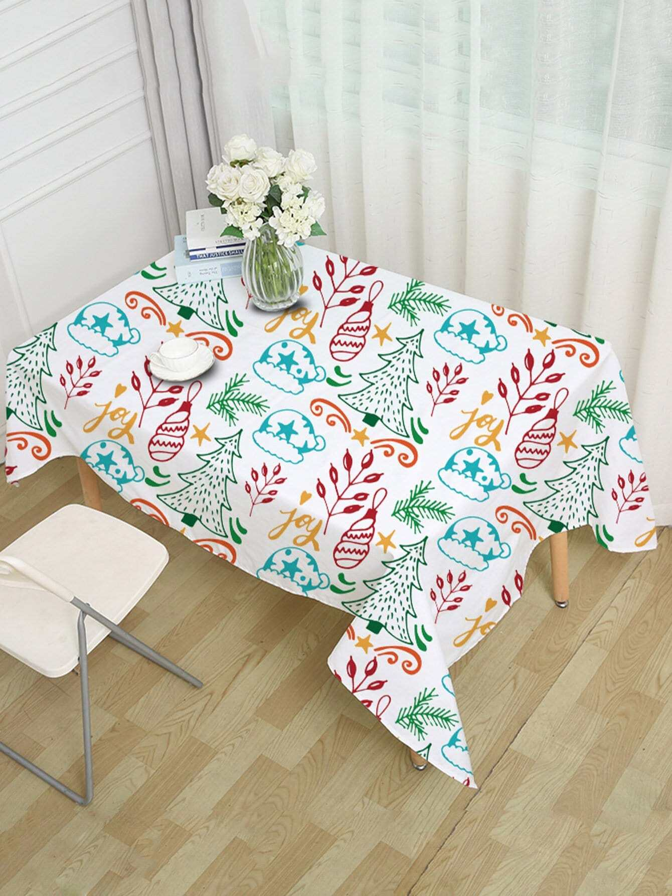 Floral & Tree Print Table Cloth