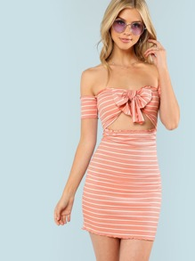 Lettuce Trim Knot Front Bardot Striped Dress
