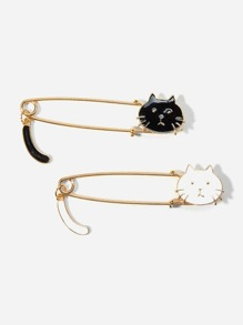 Cat Design Brooch Set 2Pcs