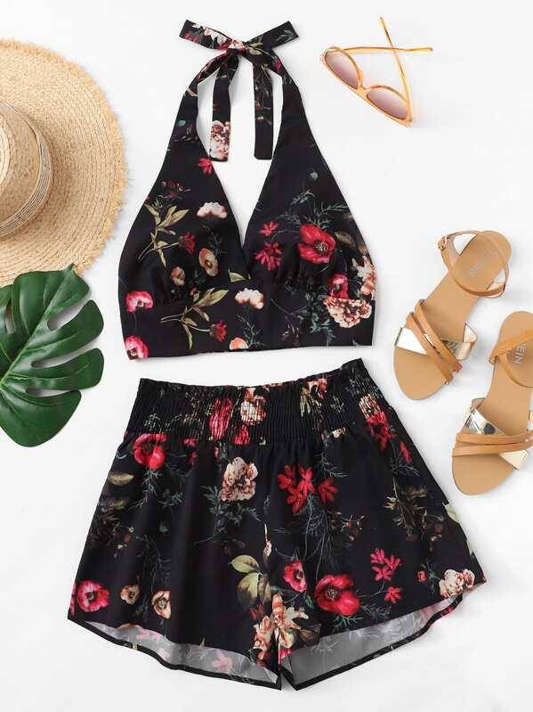 853bd4fc7738 Conjunto top halter floral con shorts anchos