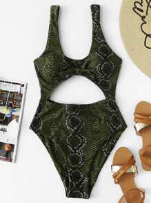 Snake Print Cut-Out One Piece Swimsuit
