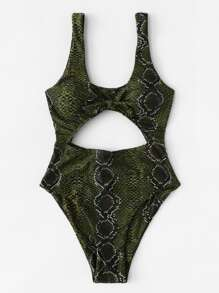 Snake Print Cut-Out Swimsuit