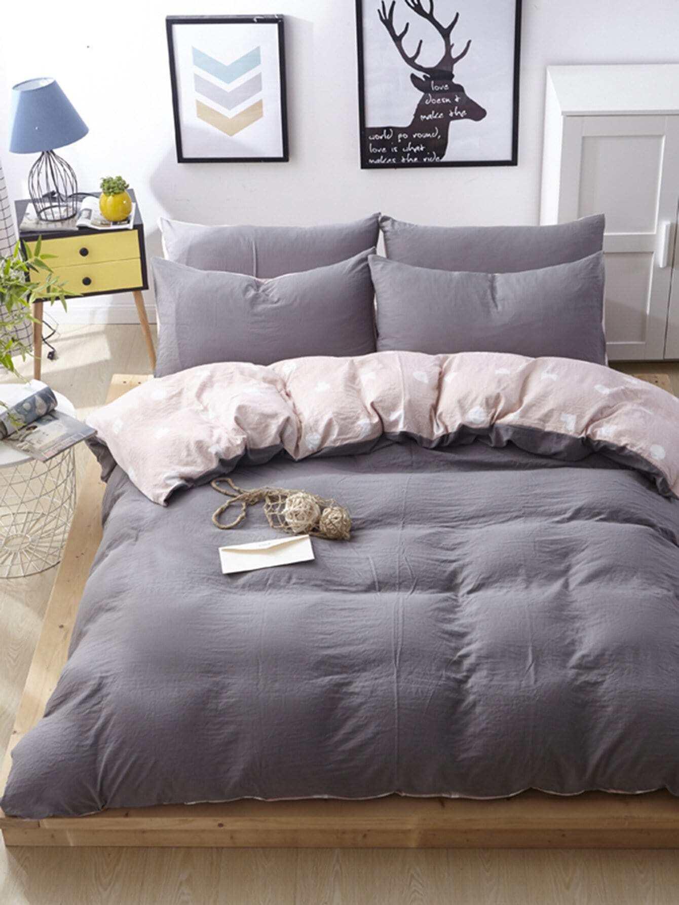 ensemble de draps imprim g om trique french shein sheinside. Black Bedroom Furniture Sets. Home Design Ideas