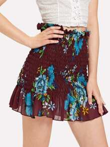Frill Trim Floral Shirred Skirt