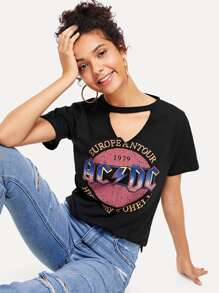 Cut Out Neck Printed Tee