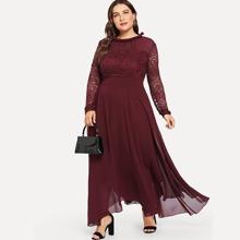 Plus Guipure Lace Panel Frill Trim Dress