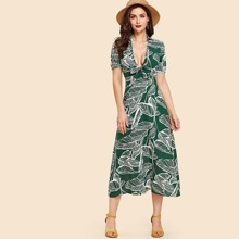 Palm Print Tie Neck Dress dress180626163